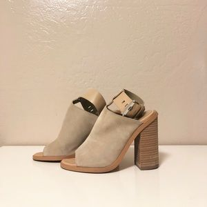 Marc Fisher Vashi Ankle Strap Sandal Heel Tan